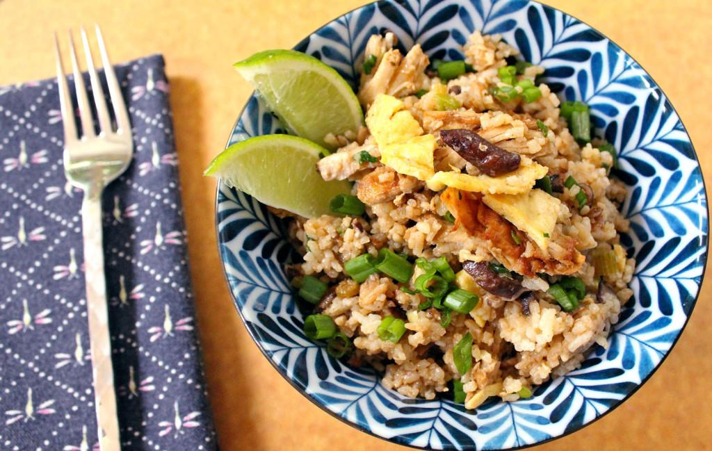 Shiitake Fried Rice with Crispy Chicken